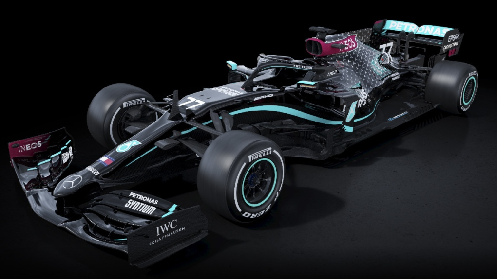 F1 MERCEDES TEAM DONS BLACK CAR