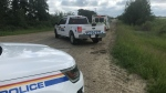 There was a heavy police presence near the Villeneuve Airport in Sturgeon County Monday, June 29, 2020. (CTV News Edmonton)