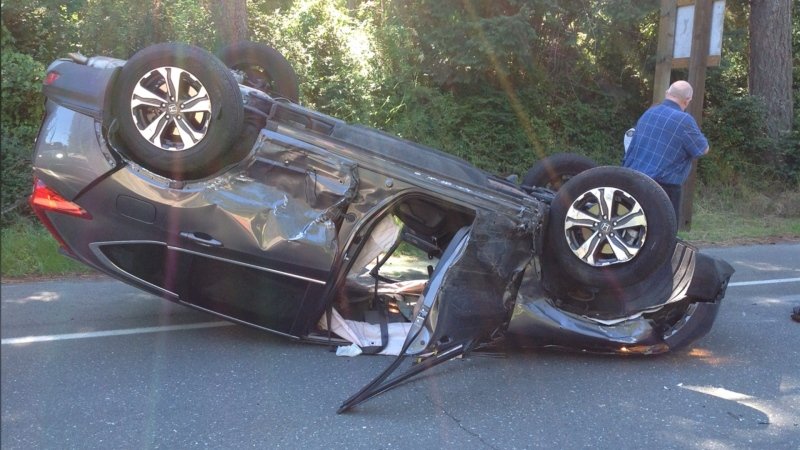 """Campbell River RCMP say it is """"amazingly lucky"""" that no one was seriously injured or killed in a three-vehicle collision on Sunday: (Oyster River Fire Rescue)"""