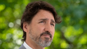 Prime Minister Justin Trudeau is seen during a news conference outside Rideau Cottage in Ottawa, Monday, June 29, 2020. THE CANADIAN PRESS/Adrian Wyld