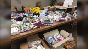 More than 6,000 masks donated to the Kidney Foundation made by Hutterite colonies. (Source: Val Dunphy)