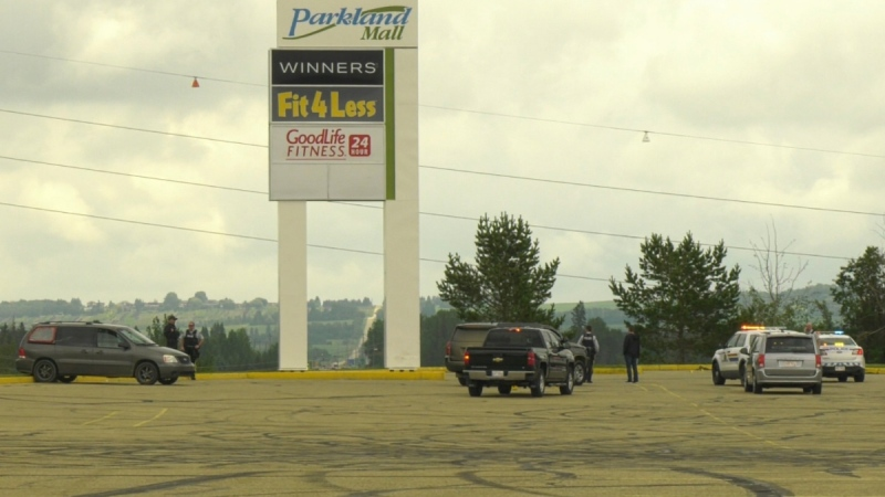 A man was sent to hospital on Monday, June 29, 2020 after a shooting at Parkland Mall in Red Deer. (Nav Sangha/CTV News Edmonton)
