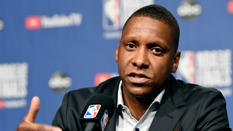 Toronto Raptors general manager Masai Ujiri speaks to media during an availability in Toronto on Wednesday, May 29, 2019. THE CANADIAN PRESS/Frank Gunn