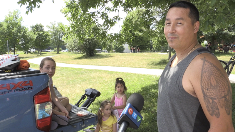 Parent Jamie Doxtator and his girls in London Ont. on June 29, 2020. (Bryan Bicknell/CTV London)