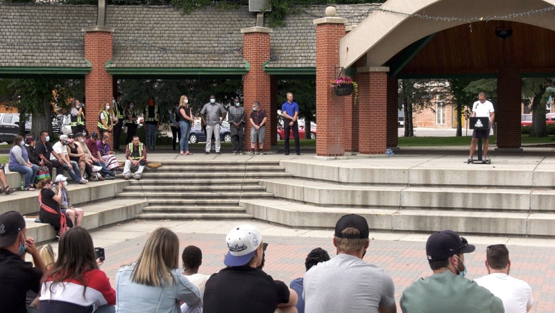 A large crowd turned up Saturday to attend an anti-racism rally launched by former University of Lethbridge Pronghorn men's hockey player Evan Wardley.