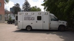 The David Busby Centre's street outreach vehicle in Barrie, Ont. on Mon. June 29, 2020 (Lexy Benedict/CTV News)