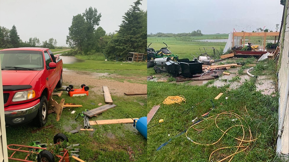 Justin and Carley-Jane McDonald said they believe a possible tornado cut right through their yard, southeast of Rapid City, Man. (Source: Carley-Jane McDonald)