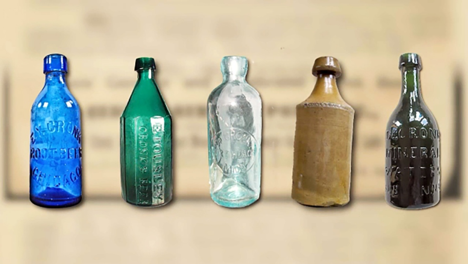 Some of the unique bottles that used to hold Cronk, a 19th century drink being revived by Cold Garden Brewery in Calary, Alta.