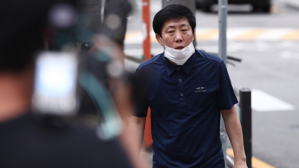 Park Sang-hak, a North Korean refugee who has floated anti-Pyongyang leaflets by balloon across the land border, arrives at the Seoul Metropolitan Police Agency in Seoul, South Korea, Tuesday, June 30, 2020. (Hong Hae-in/Yonhap via AP)