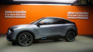 The Citroen e-C4 all electric hatchback in Paris, on June 30, 2020. (Michel Euler / AP)