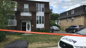 A resident discovered the body of a baby near the back of an apartment building on Mont-Bleu Boulevard in Hull on Monday, June 29, 2020. (Leah Larocque/CTV News Ottawa)