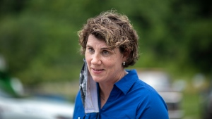 U.S. Senate candidate Amy McGrath speaks to members of the media during a visit to Thankful Hearts Food Pantry in Pikeville, Ky., Monday, June 22, 2020. (Ryan C. Hermens/Lexington Herald-Leader via AP)