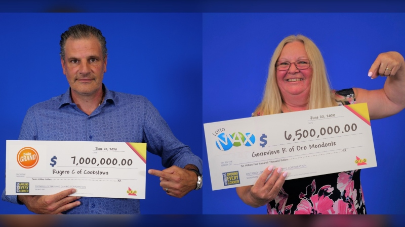 Lottery winners Rugero Cristiano  and Genevieve Rogers (supplied)