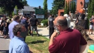 Small businesses owners and residents hold a rally while stuck in Stage 1 of reopening in Kingsville, Ont., on Tuesday, June 30, 2020. (Chris Campbell / CTV Windsor)
