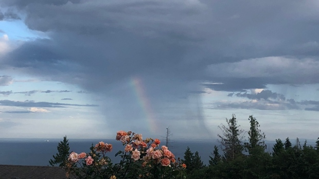 """Rainbow in the rain"" captured by Wendy Spence in Sechelt looking toward Vancouver Island."