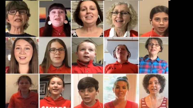 The virtual mass choir includes members of The Bel Canto Chorus, Nickel City Sound, Sudbury Chamber Singers, Sudbury Studio Singers, and YSS. They are joined by local essential service workers from Greater Sudbury EMS, Fire, Police Services, Health Sciences North, Pioneer Manor, and Public Health Sudbury & District, as well as several community leaders.(Picture from video)