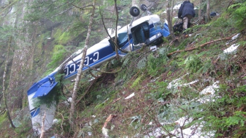 An investigation into a fatal plane crash north of Tofino, B.C., last December has raised potential safety issues for other pilots. The crash site is seen in a Feb. 12, 2020, handout photo. (THE CANADIAN PRESS/Transportation Safety Board)