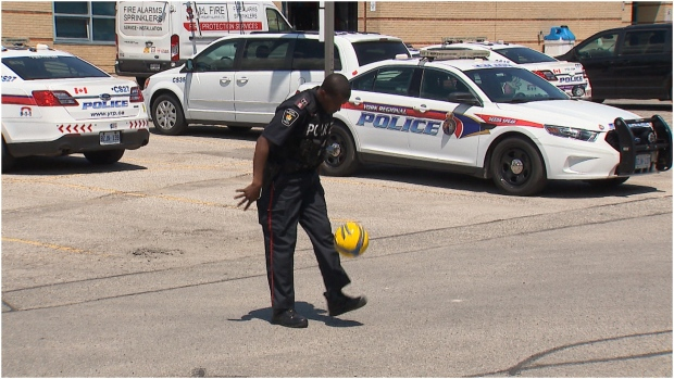 York Regional Police Detective Constable Dovelin Hawthorne is hoping to gather soccer equipment for children in Hanover, Jamaica through his 'Cleats for Kids' initiative. (CTV News Toronto/Corey Baird)