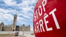 Construction is ongoing on the front lawn of the Parliament buildings in Ottawa, Tuesday, June 30, 2020. Canada Day celebrations on Parliament Hill were cancelled this year due to the COVID-19 pandemic. (Adrian Wyld/THE CANADIAN PRESS)