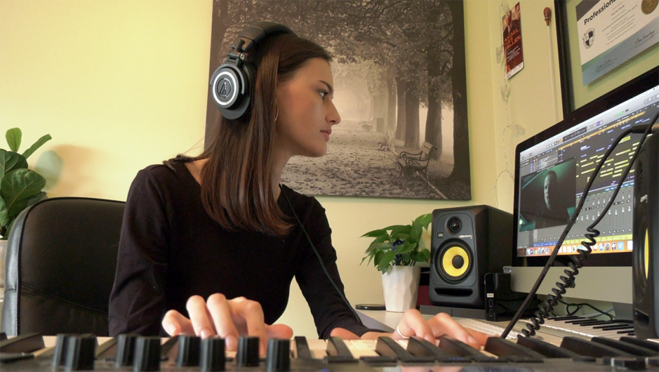 Calgary composer Rachel Hardy at work in her home studio composing music for HBO's Westworld Spitfire Audio Competition