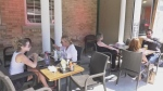 A busy patio during the COVID-19 pandemic in Barrie, Ont. on Tues. June 30, 2020 (Madison Erhardt/CTV News)