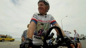 63-year-old man trying to break a cycling record