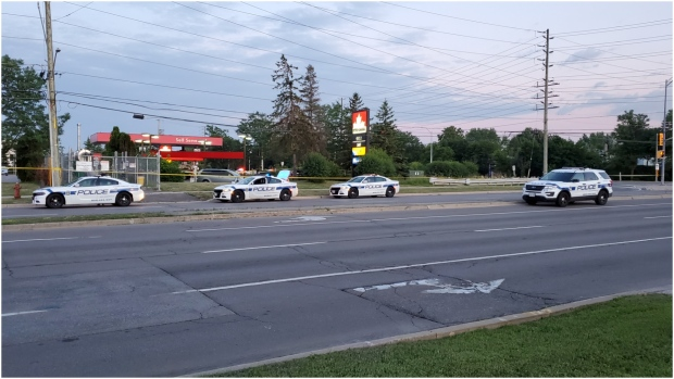 Several Peel Regional Police cruisers arrive on scene following a police-involved shooting in Brampton. (CP24)
