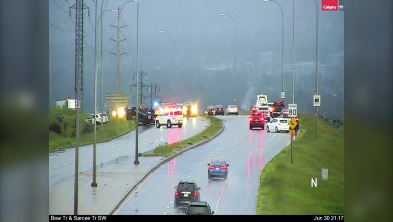 Three vehicles were involved in a collision Tuesday on Sarcee Trail