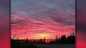 Sunrise in Tadoule Lake, Mb. Photo by Sharon Cheekie.