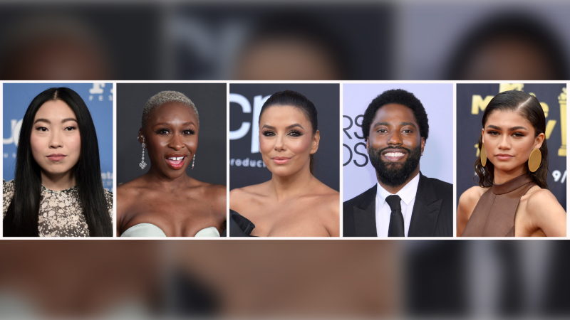 In this combination, from left, Awkwafina attends the Santa Barbara International Film Festival Virtuosos Award on Jan. 18, 2020, in Santa Barbara, Calif., Cynthia Erivo arrives at the 51st NAACP Image Awards on Feb. 22, 2020, in Pasadena, Calif., Eva Longoria arrives at the Billboard Music Awards on May 1, 2019, in Las Vegas, John David Washington arrives at the 25th annual Screen Actors Guild Awards on Jan. 27, 2019, in Los Angeles and Zendaya arrives at the MTV Movie and TV Awards on June 16, 2018, in Santa Monica, Calif. Awkwafina, Erivo, Longoria, Washington and Zendaya are among the 819 people who have been invited to join the Academy of Motion Picture Arts and Sciences. (AP Photo)