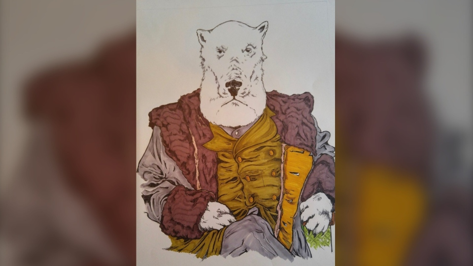 Ottawa artist John Shirreff's Countdown to Canada Day – Prime Minister Mackenzie Bowell (Polar Bear) (Photo courtesy: John Shirreff)