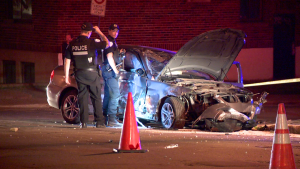 Montreal police were called to the scene of a crash in Cote-des-Neiges where a possibly impaired driver crashed into a parked car, traffic light post and tree.