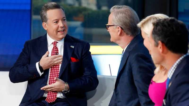 Fox News Chief National Correspondent Ed Henry, left, appears with co-hosts Steve Doocy, second left, Ainsley Earhardt, and Brian Kilmeade on the 'Fox & friends' television program, in New York on Sept. 6, 2019. (Richard Drew / AP)