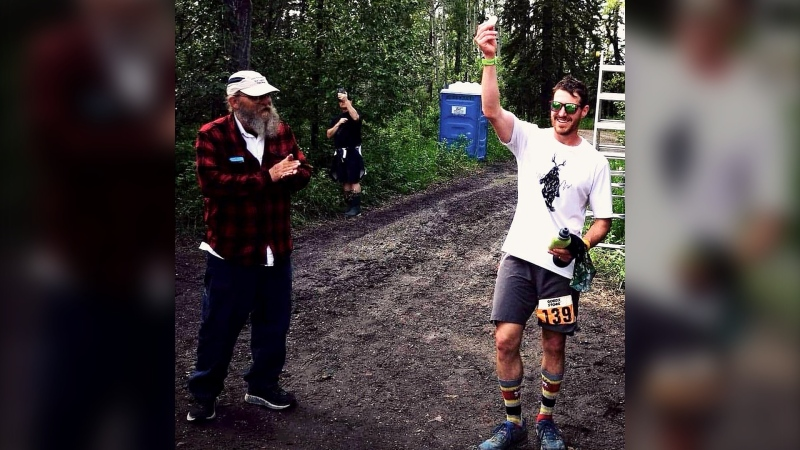 Matt Shepard with infamous race director, Laz Lakes at the finish of 2019 Outrun Rare Backyard Ultra. (Courtesy Matt Shepard)