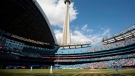 The CN Tower looms over the Toronto Blue Jays and Detroit Tigers in Toronto Saturday, May 7, 2011. THE CANADIAN PRESS/Darren Calabrese