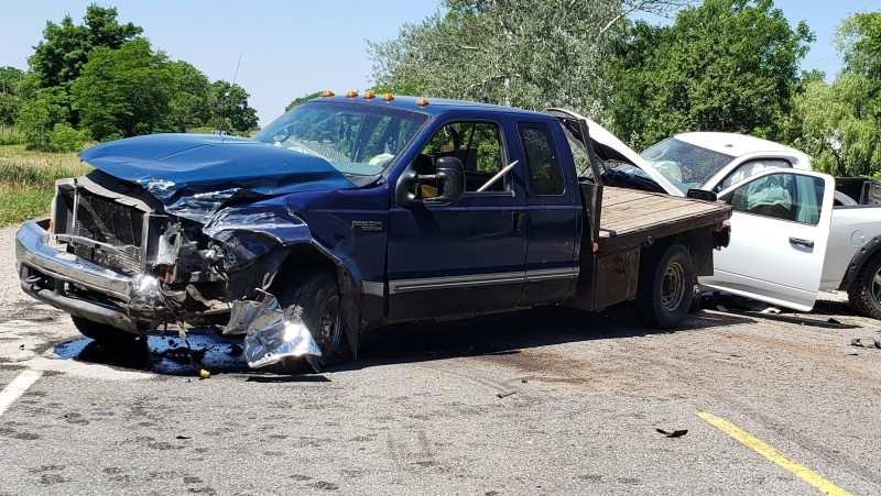 Highway 3 crash that sent three people to hospital near Cayuga Ont. on June 30, 2020. (OPP)