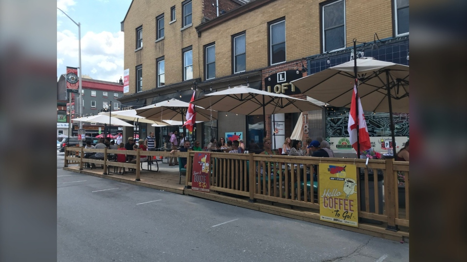 Bar and restaurant patios started filling up at lunchtime on Canada Day. (Leah Larocque/CTV News Ottawa)