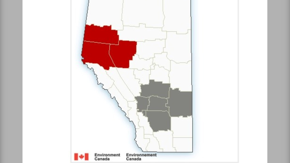 A special weather advisory warning funnel clouds are possible is in place for the areas in grey while the areas in red are under a rainfall warning.
