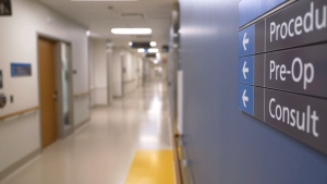 An empty hospital hallway is seen in this file photo.