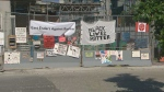 The Regent Park community posted signs outside a construction site where a noose was found last week.