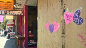 Businesses on Davie St. in Vancouver on April 16, 2020, during a period when many businesses had to close or curtail services because of the COVID-19 pandemic. (CTV)