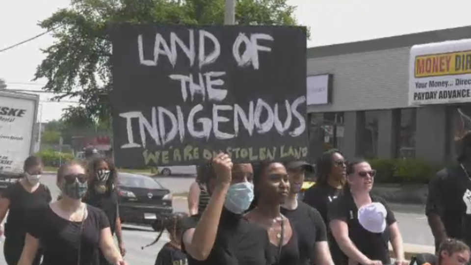 Protesters in Halifax on Canada Day