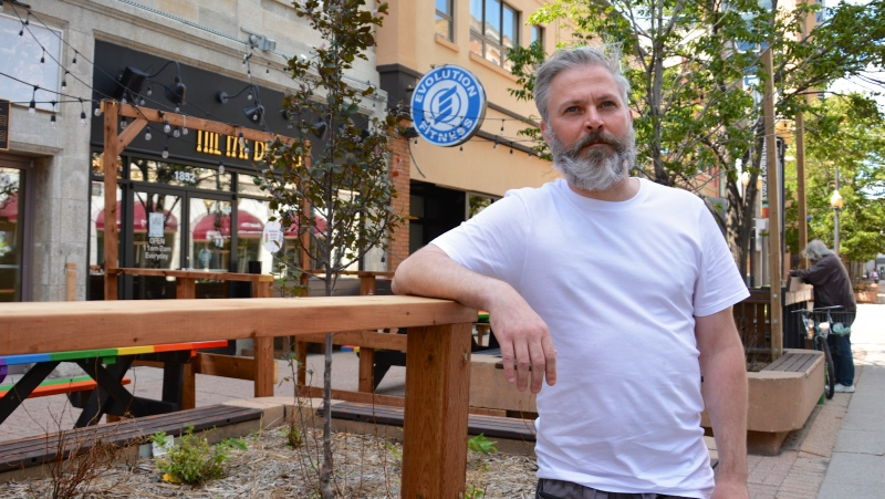 David Waller, owner and operator of the Fat Badger pub in downtown Regina extended the restaurant's patio to maintain seating capacity outside. (Jeremy Simes/CTV Regina)