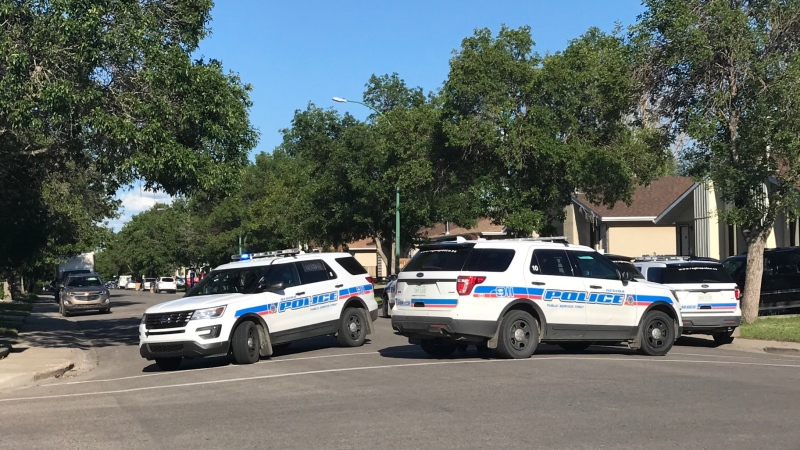 Regina police vehicle block off Thompson Ave. during an on-going investigation on July 1, 2020. (Stefanie Davis/CTV News)