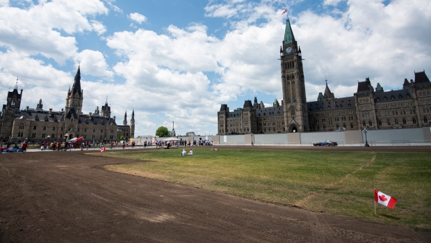 Canadian Flags fly on the empty lawn of Parliament Hill, partially rendered as dirt amid the Centre Block construction project, on Canada Day in Ottawa, on Wednesday, July 1, 2020. THE CANADIAN PRESS/Justin Tang