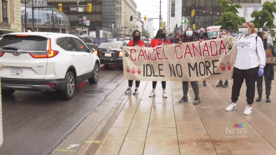 Demonstrators call to #CancelCanadaDay