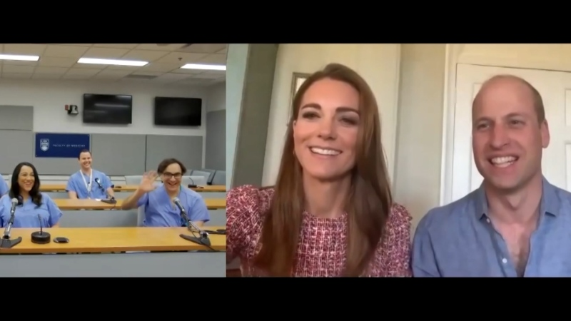 The Duke and Duchess of Cambridge speak to workers at Surrey Memorial Hospital in a videoconference.