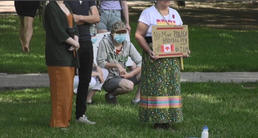 Canada day demonstration in Saskatoon