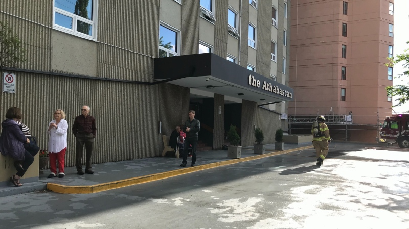 Residents of Athabasca Apartments, at 123 Street and Jasper Avenue, were evacuated due to a fire July 1, 2020.