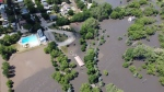 Aerial footage posted on Wednesday, July 1, 2020, shows the extent of flooding in Neepawa, Manitoba. The town declared a local state of emergency due to flooding. (Source: Facebook - Town of Neepawa)